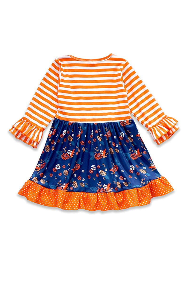 Honeydew cutie Boutique Orange//Dark Blue Floral Ruffle with Front Button Girls Dress
