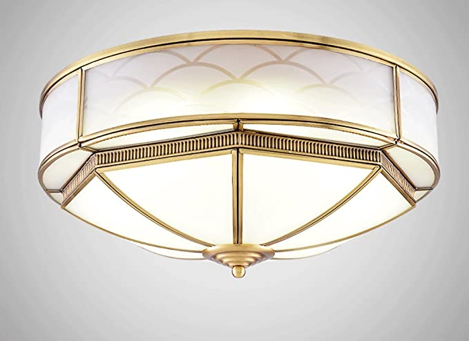 Zhdc Full Copper Ceiling Light Modern New Chinese Style Lights Round Master Bedroom