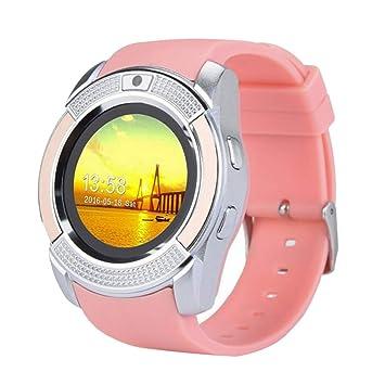 Babysbreath17 V8 Inteligente Reloj Redondo Tarjeta de la Pantalla del teléfono Inteligente del Reloj del Reloj Pulsera de la Venda rastreador de Ejercicios ...