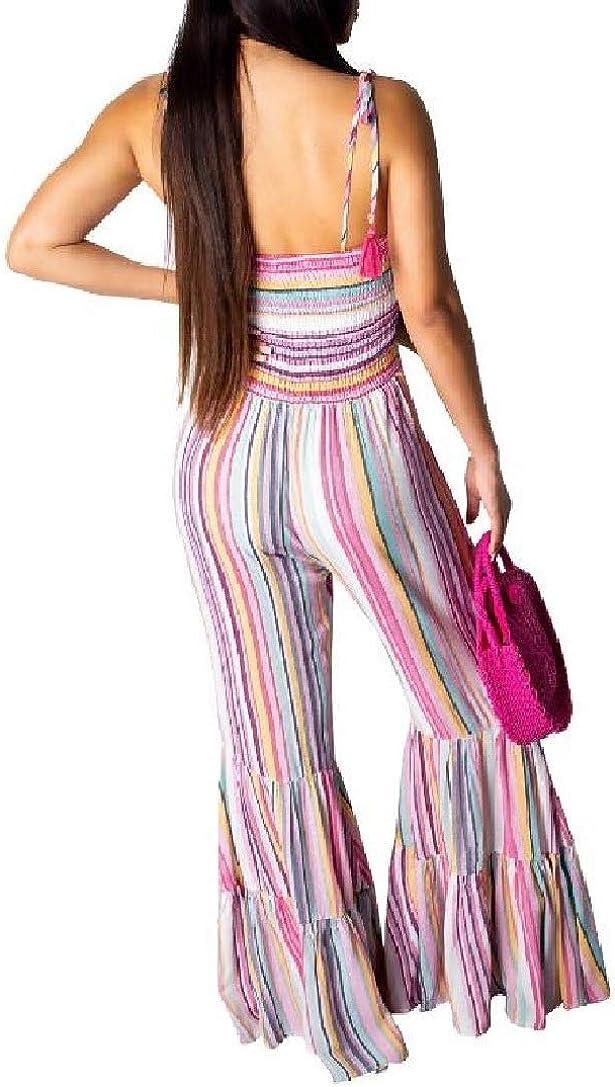Winwinus Women Mid-Waist Multicolor Striped Printed Bell-Bottoms Jumpsuit Trousers