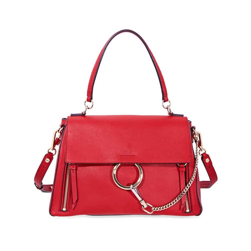 70d66a3d7931 Chloe Faye Medium Suede Calfskin Shoulder Bag- Dahlia Red  Handbags   Amazon.com