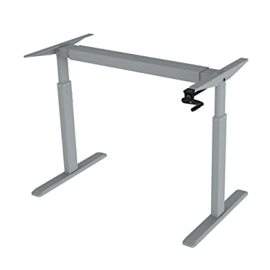 Ergomax Office ABC256GR, Adjustable Height Crank Desk Frame, 45 Inch Max Height, Grey (Tabletop Not Included)