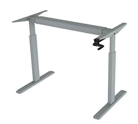 ErgoMax Office ABC256GR Height Adjustable Crank Desk Frame, Tabletop Not Included, 45 Inch Max, Grey