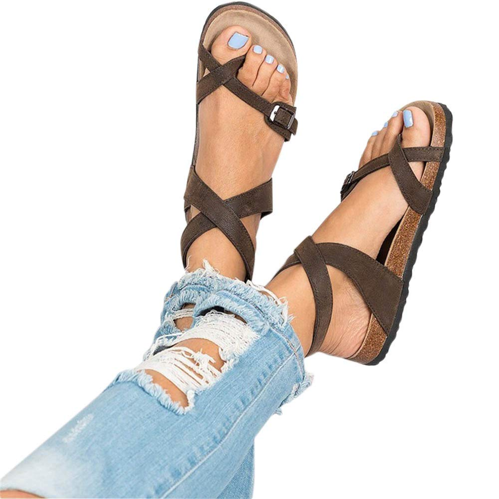 Sara Love Women's Summer Flat Ankle Buckle Sandals Gladiator Thong Flip Flop Mayari Sandals Brown-2 40