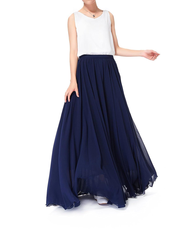 26938e3f2a87 Linhuier Women's Summer Beach Wedding Maxi Skirt Chiffon Long Skirts for  Women with Pockets at Amazon Women's Clothing store: