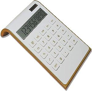 Calculator, 10 Digits Solar Battery Basic, Dual Powered Desktop Calculator, Tilted LCD Display, Inclined Design Slim Desk Calculator by Sportsvoutdoors (White)