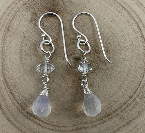 Moonstone Earrings,Herkimer Diamond Earrings,925 Sterling Silver Earrings,Drop length 3.5 (Diamond Moonstone Earrings)