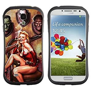 Hybrid Anti-Shock Bumper Case for Samsung Galaxy S4 / Cool Vintage Pin Up