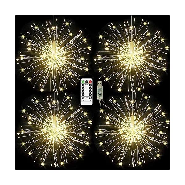 ISUDA Luci Fatate Natalizie LED Luce Fata Luce Stringa USB 5M Catena Luminosa + 3M Cavo Prolunga Decorative Giardino, Casa, Natale, Feste, Matrimonio - 4 Pezzi di 102 LED Lampadine 1 spesavip