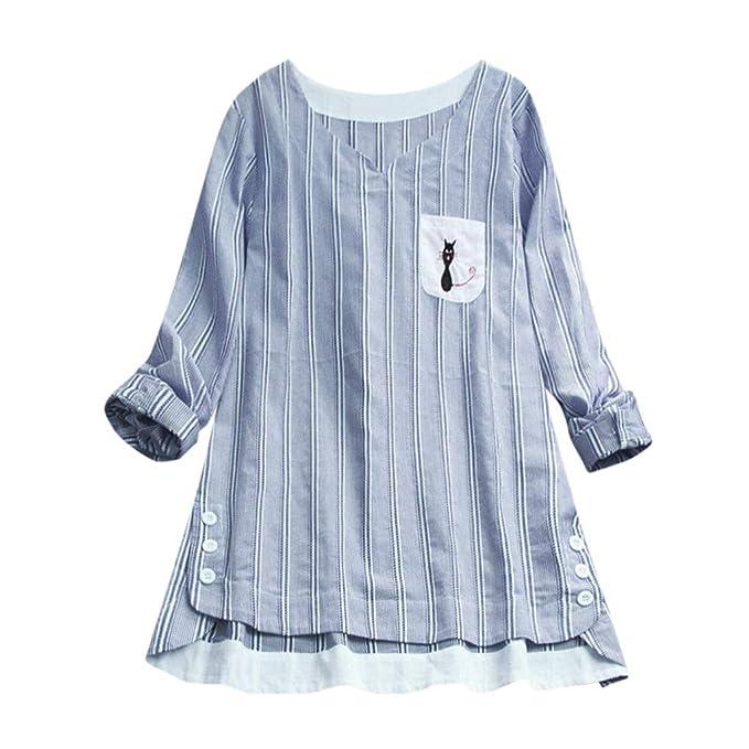 Bordado Rayado del Gato De Las SeñOras De Las Mujeres Camiseta De Manga Larga Tops Blusa: Amazon.es: Ropa y accesorios