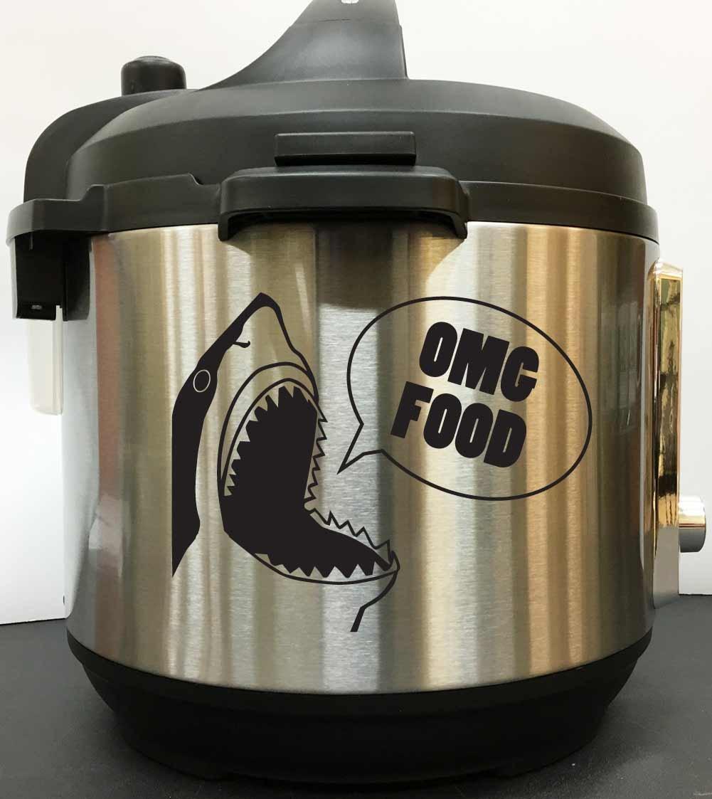 OMG FOOD Great White Shark - Black Vinyl Decal Sticker for Instant Pot Instapot Pressure Cooker