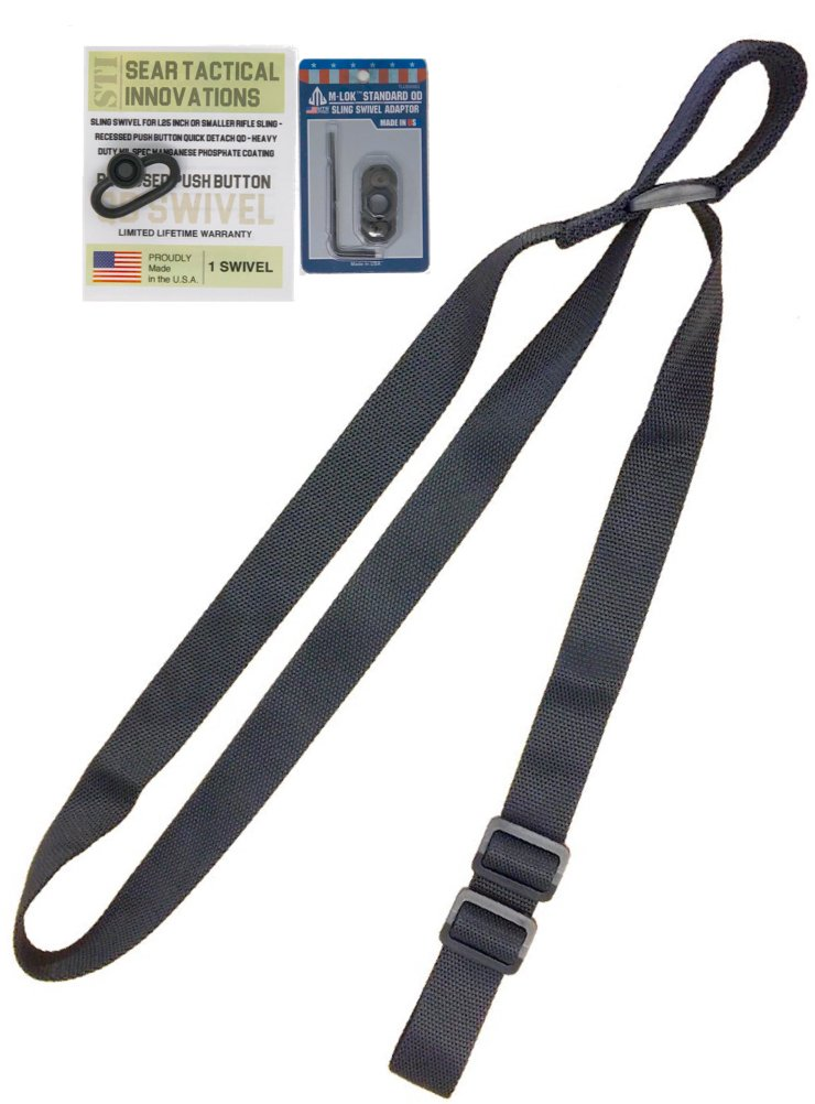 STI 2 Point Rifle Sling - Adjustable Gun Sling with Fast-Loop and 1.25 inch Webbing for Hunting Sports and Outdoors (Black w/ 1 QD Swivel & M-LOK QD Mount) by STI