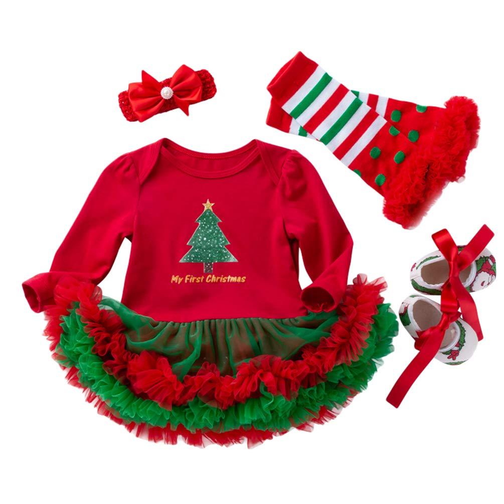 YuanDiann Bébé Fille 4 Pcs Déguisement Noël Vêtement de Baptême Nouveau Né Habit De Noel Enfant Fete Tenue Ensemble Tutu Barboteuse Robe + Bandeaux + Jambières + Chaussures