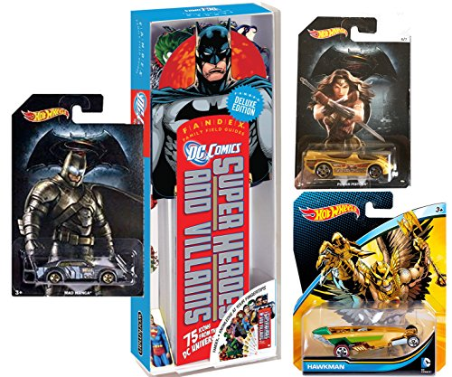 DC Comics Car and Card Set - Hot Wheels Exclusive Superman v Batman Twin Mill & Wonder Woman Power Pistons Diecast Car, HW Hawkman Character Car & DC Comics Fandex and Deck of Playing Cards (Homer Simpson Muscle)