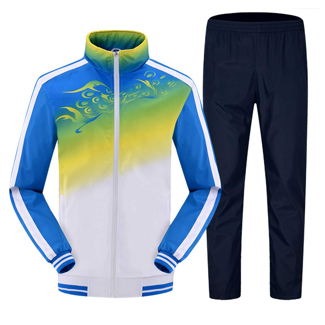 Modern Fantasy Men's Athletic Striped Tracksuit Joggers Running Sports Style Sweat Suits Set Blue M by Modern Fantasy