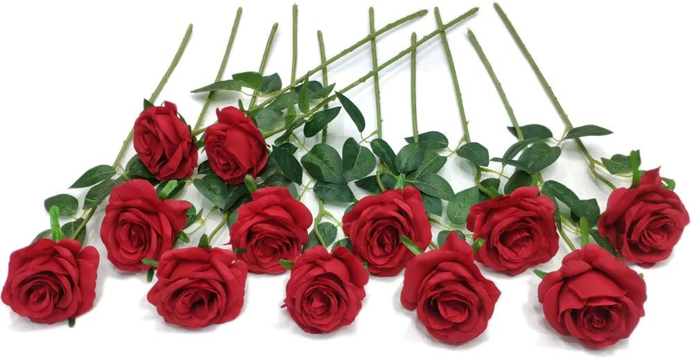 Anni 12 pcs Artificial Roses Flowers Long Stem Fake Silk Rose for Home Wendding Decorations (Red)