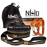 HangTight XL Hammock Straps & Carabiners - 14 Ft Long, Extra Strong, Lightweight, 2200 LBS Breaking Strength, No Stretch Polyester, 24 Loops, Tree Friendly. Best Suspension System For Quick Easy Setup
