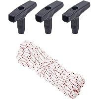 Recoil Starter Touw, 3 Zwarte Kettingzaag Starter Handgrepen voor Kettingzaag, Grasmaaier Recoil Pull Starter Handvat 10…
