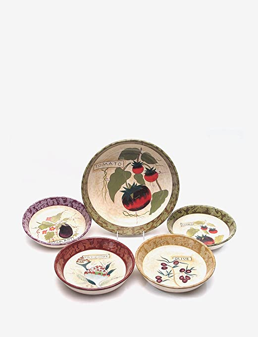 Amazon.com | Certified International Siena 5-Piece Pasta Sets Pasta Bowls Pasta Bowls : pasta plate set - Pezcame.Com