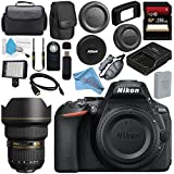 Nikon D5600 DSLR Camera (Body Only) (Black) 1575 AF-S 14-24mm f/2.8G ED Lens 2163 + 256GB SDXC Card + Card Reader + Professional 160 LED Video Light Studio Series Bundle