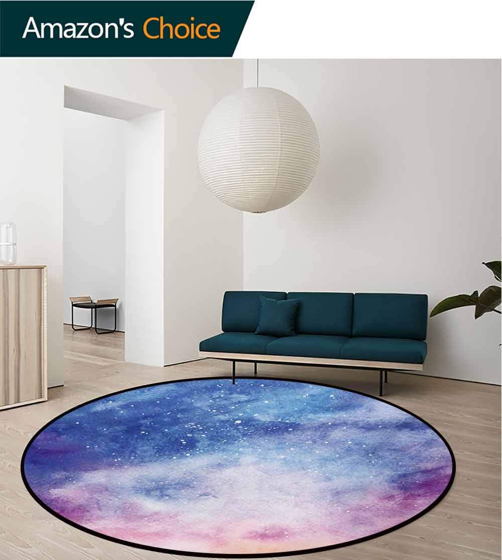 RUGSMAT Navy and Blush Machine Washable Round Bath Mat,Watercolor Style Starry Space Galaxy Nebula Abstract Cosmos Inspired Non-Slip No-Shedding Bedroom Soft Floor Mat,Diameter-71 Inch