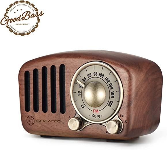 Vintage Radio Retro Bluetooth Speaker- Greadio Walnut Wooden FM Radio with Old Fashioned Classic Style, Strong Bass Enhancement, Loud Volume, Bluetooth 4.2 Wireless Connection, TF Card MP3 Player