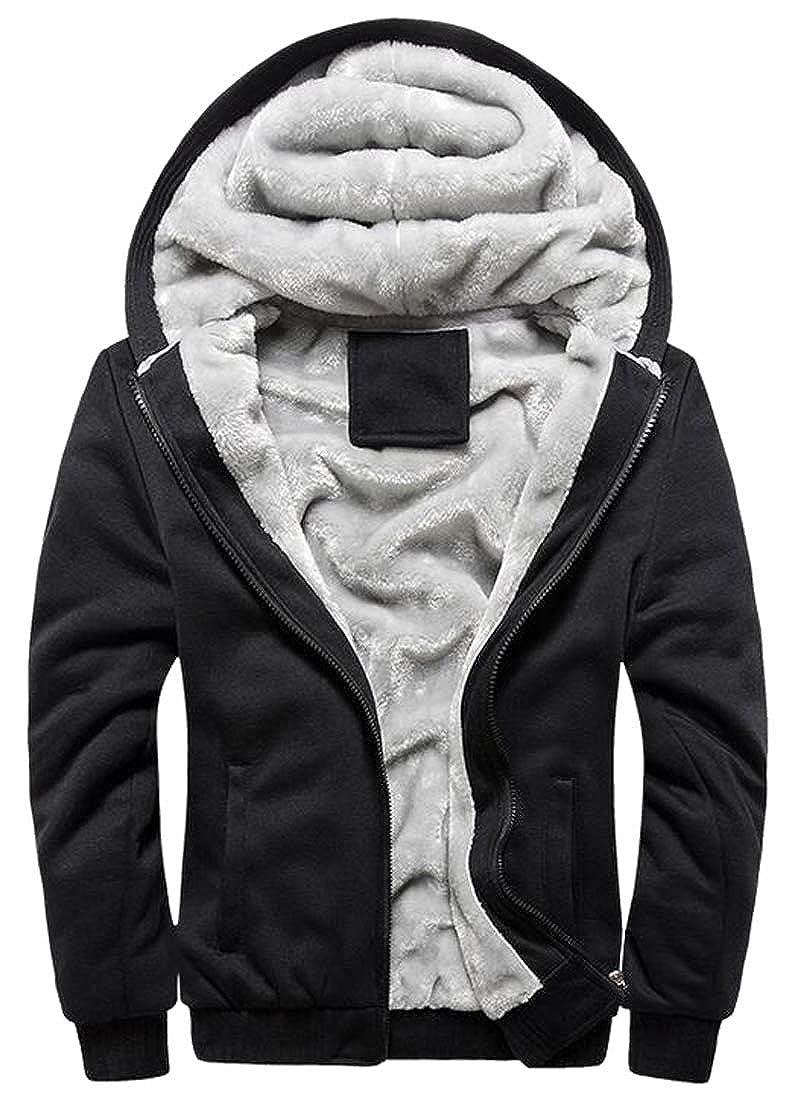 Jotebriyo Mens Fleece Lined Winter Solid Gym Workout Hoodie Hooded Sweatshirt Coat Jacket