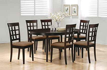 Admirable Life Home 7Pc Contemporary Cappuccino Finish Solid Wood Dining Table Chairs Set Oval Interlock Theyellowbook Wood Chair Design Ideas Theyellowbookinfo