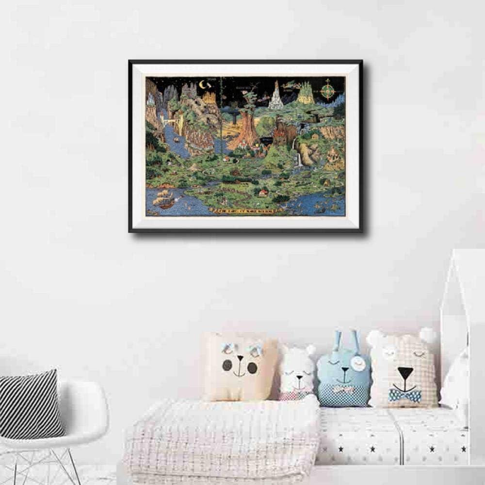 MFMing Mapa del vivero Land of Make Believe Cuadro en lienzo Imprimir Vintage Wall Art Decoración de la habitación de los niños Mapa del mundo Fantasía Carteles e impresiones-30cm x40cm sin marco