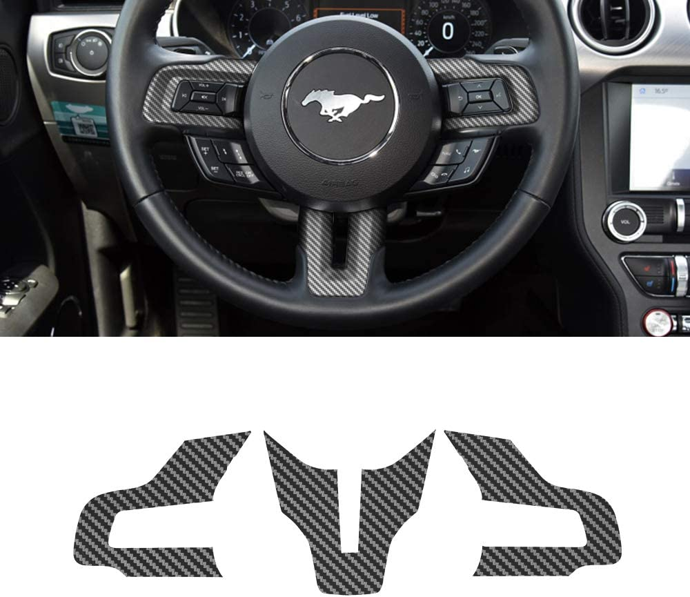 ramuel Compatible with Carbon Fiber Steering Wheel Sticker Accessories for Ford Mustang 2015 2016 2017 2018 2019 2020 ( 3pcs Black)