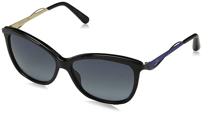 76940b8766271 Dior 2177396OA57HD Ladies Dior Metal Eye S2 6OA HD Black Blue Sunglasses