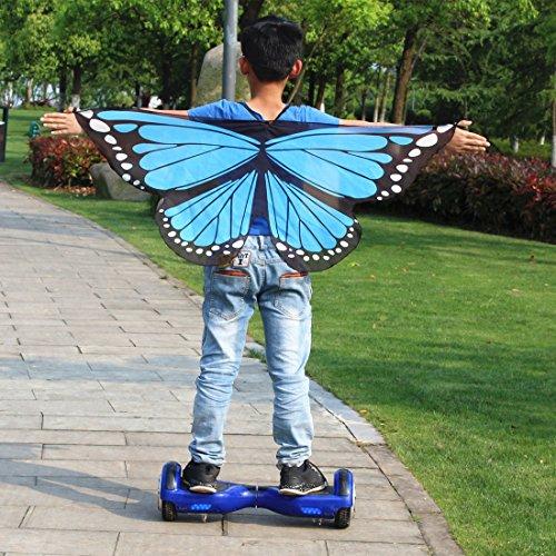 Liangxiang Unisex Kids Fairy Costume Butterfly Dress Up Wings Chiffon Pareo Scarf Swimwear Shawl Wraps (sky (Blue Monarch Butterfly Wings Costume)