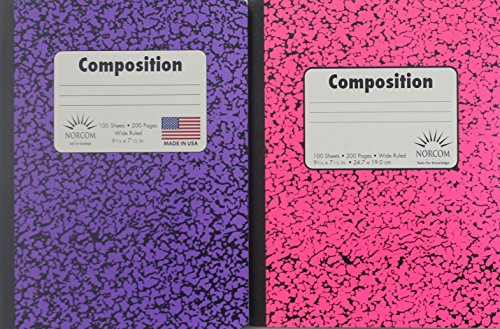Double Pack 100 Sheet / 200 Page Composition Books - Bundle of Two Norcom Composition Books Wide Ruled (Pink/Purple)