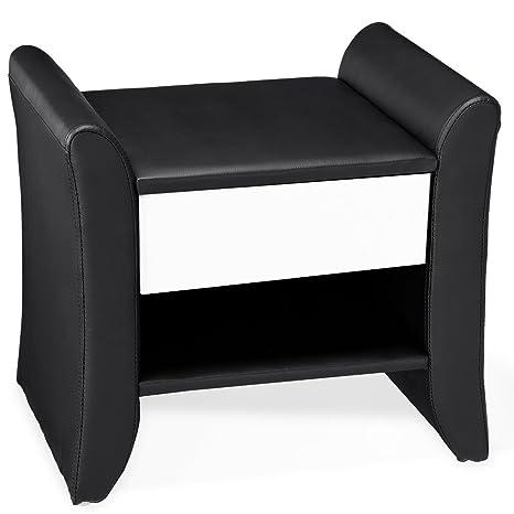 [corium] Mesilla de noche tapizada (blanca y negra) (47cm x 37cm x 44cm) Mesita de noche con cajón y compartimento / tapizada de cuero sintético / ...