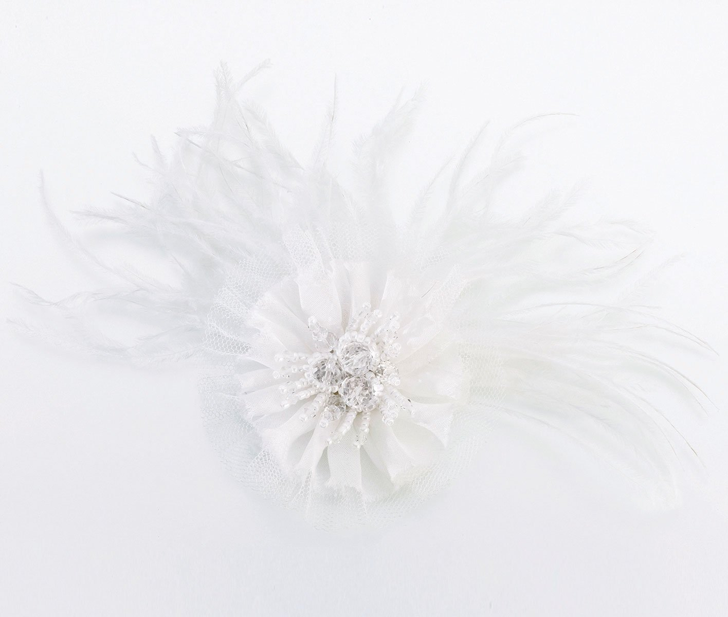 Lillian Rose Ivory Marabou Feather Hair Clip Dress Accessories JL236 I
