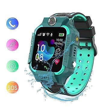 linyingdian Smartwatch Niños,Reloj Inteligente Niños con Flashlight, IP67 LBS SOS, Cámara, Smartwatch con Ranura para Tarjeta SIM, Regalo Niño Niña de ...