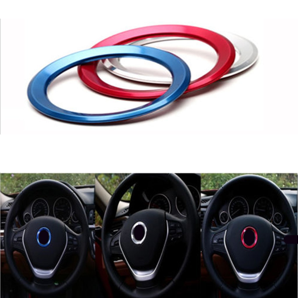 55mm*55mm MagiDeal Steering Wheel Center Decor Logo Ring Cover 3 Colors Silver//Red//Blue Silver