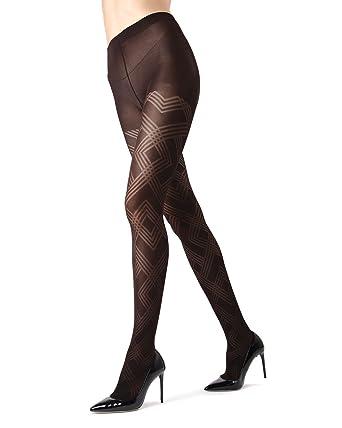 a38de104e MeMoi Geometric Pattern Tights | MeMoi Women's Tights - Hosiery - Pantyhose  Black MO 331 Queen1