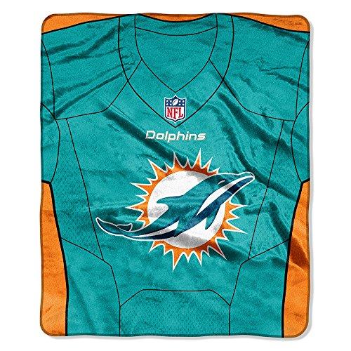 NFL Miami Dolphins Jersey Plush Raschel Throw, 50