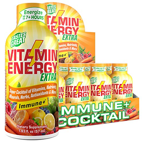 (24 Pack) VitaminEnergy™ Extra Immune+ Energy Shots, Last up to 7+ Hours. Citrus Energy Drink w/Vitamin Supplements…