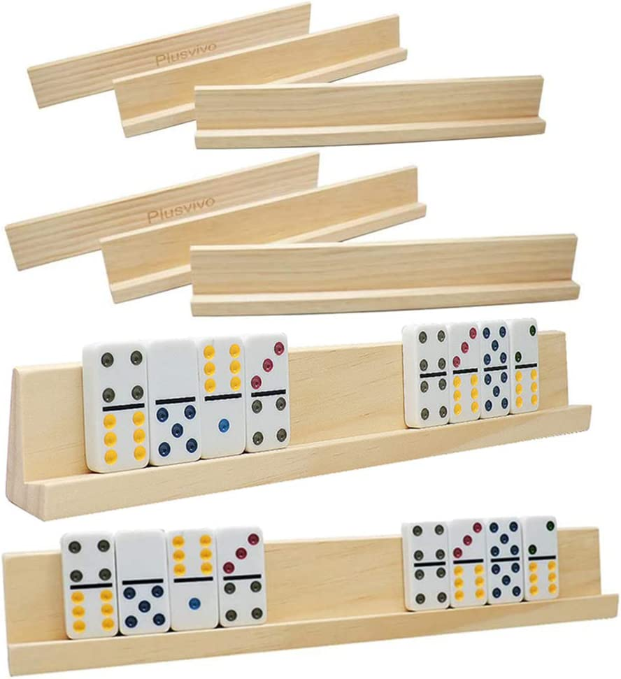 Domino Racks Set of 8, Plusvivo Wooden Domino Trays Holders for Mexican Train Chicken Food and Other Dominoes Games 13.97 x 2 x 1.18 Inches - Dominoes NOT Included