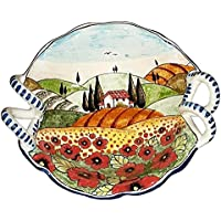 CERAMICHE D'ARTE PARRINI - Italian Ceramic Art Pottery Serving Bowl Centerpieces Hand Painted Decorative Landscape Poppies Tuscan Made in ITALY