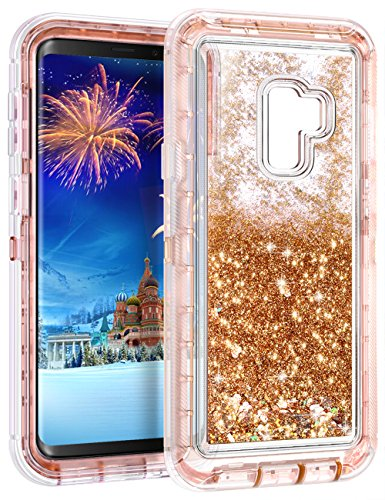 Galaxy S9 Case,Wollony 360 Full Body Shockproof Liquid Glitter Quicksand Bling Case Heavy Duty Phone Bumper Non-Slip Soft Clear Rubber Protective Cover for Samsung Galaxy S9 - Rose Gold