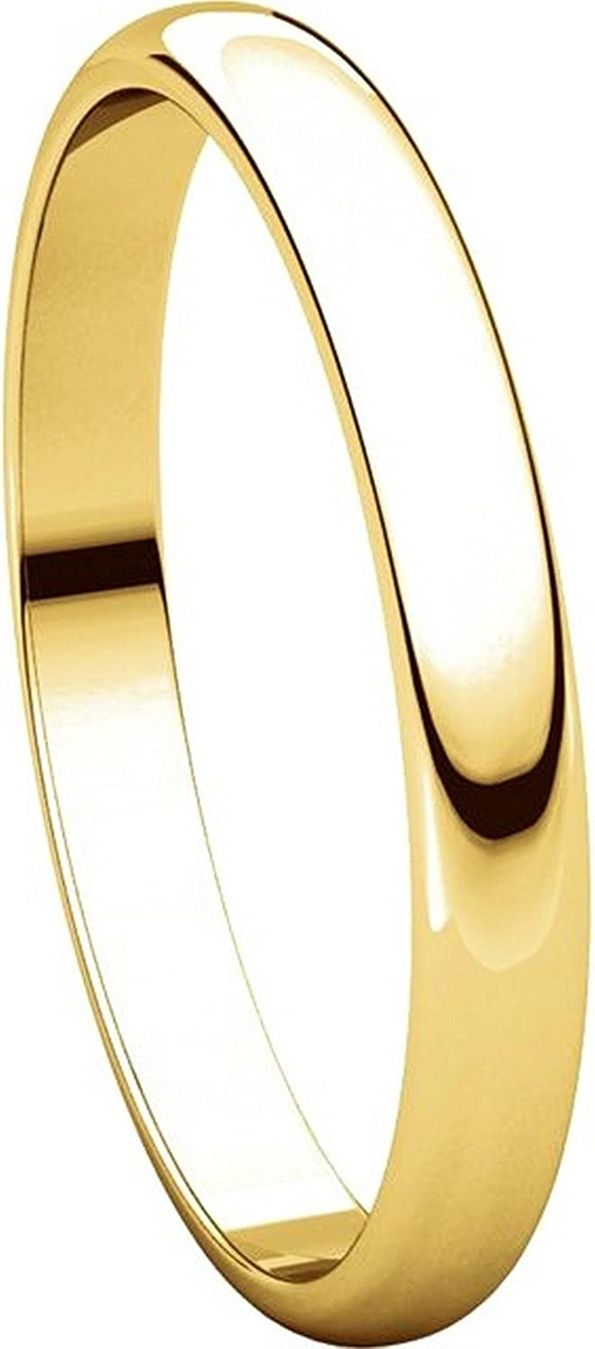 2.5mm Wide Plain Wedding Band Mens and Womens 18k Yellow Gold