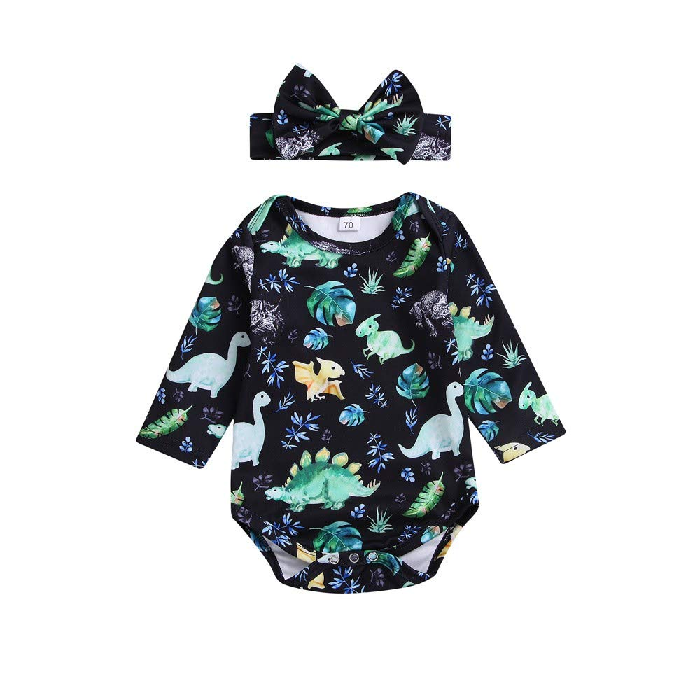 NUWFOR 2PCS Toddler Baby Dinosaur Print Romper Jumpsuit+Headbands Set Outfit(Black,12-18Months