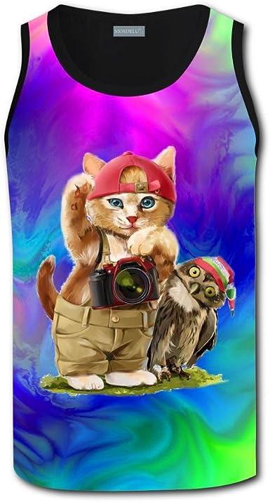 Mens Tank Tops Hamburger with Baby Cat Casual 3D Vest Sleeveless Shirt