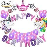 MMTX Unicorn Party Decorations Fournitures, avec 2pcs énorme Licorne Balloon, Joyeux Anniversaire Ballon bannière,pour bébé Fille garçon Lady Birthday Party, Mariage (Licorne) (Violet)