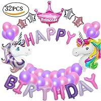 MMTX Unicorn Party Decorations fournitures, avec 2pcs énorme Licorne Balloon, joyeux anniversaire Ballon bannière, 4pcs Helium Foil Star, 1 couronne et 24pcs Ballons Party Latex pour bébé fille garçon Lady Birthday Party, mariage (licorne)