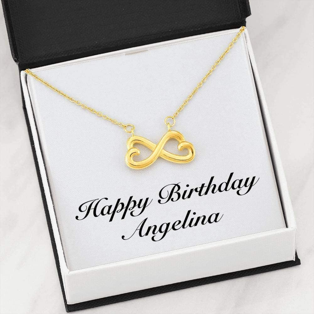 Unique Gifts Store Happy Birthday Angelina Infinity Heart Necklace 18k Yellow Gold Finish Personalized Name