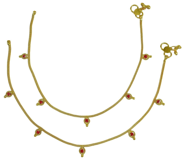 Ethnic Indian Traditional Golden Tone Cz Designer Stone Bridal Anklet Jewelery